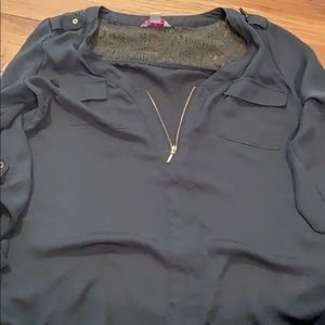 Olive green blouse with gold accents